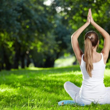 Yoga im Clara Park bei Sonnenschein